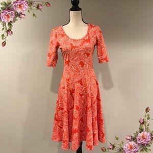 LuLaRoe Nicole red orange paisley dress